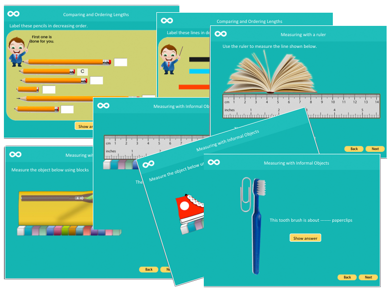 Measuring Lengths - Key stage 1. 57 page Powerpoint lesson
