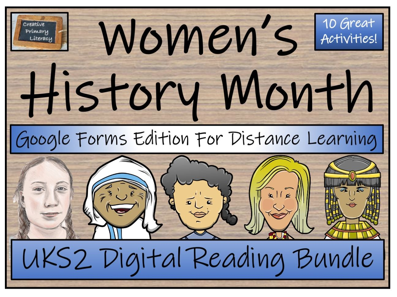 UKS2 Women's History Month Reading Comprehension & Distance Learning Bundle