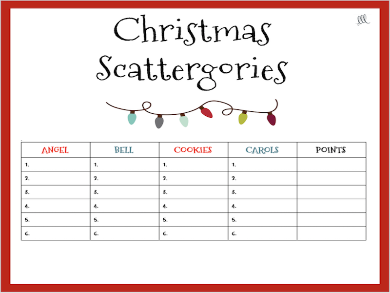 Christmas Scattergories Game