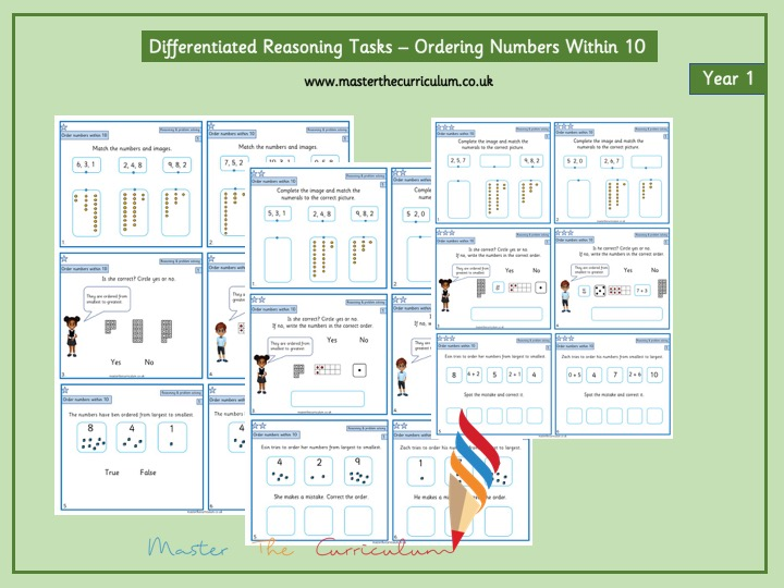 Year 1 - Ordering Numbers to 10 - Differentiated Reasoning Tasks- White Rose Style