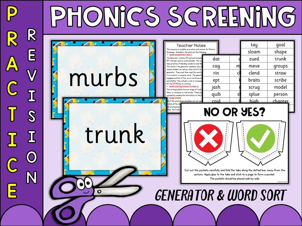 Phonics: Phonics Screening Vol 17 Generator and Word Sort