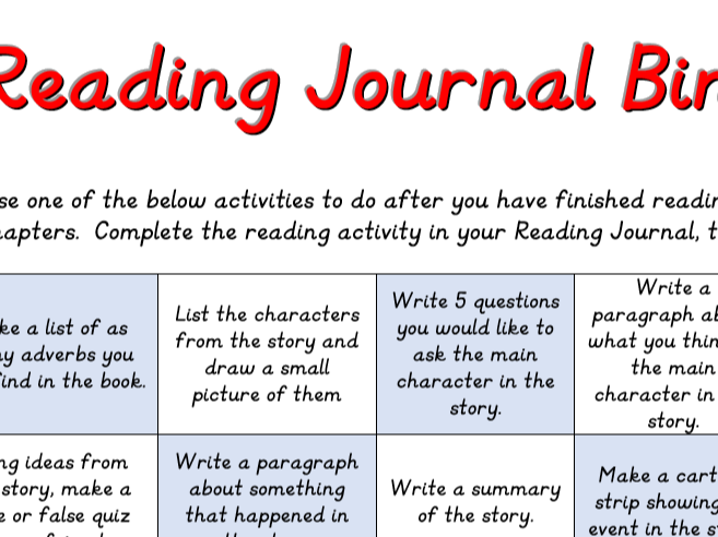 Reading Journal Bingo Sheet Yr 3 Yr4
