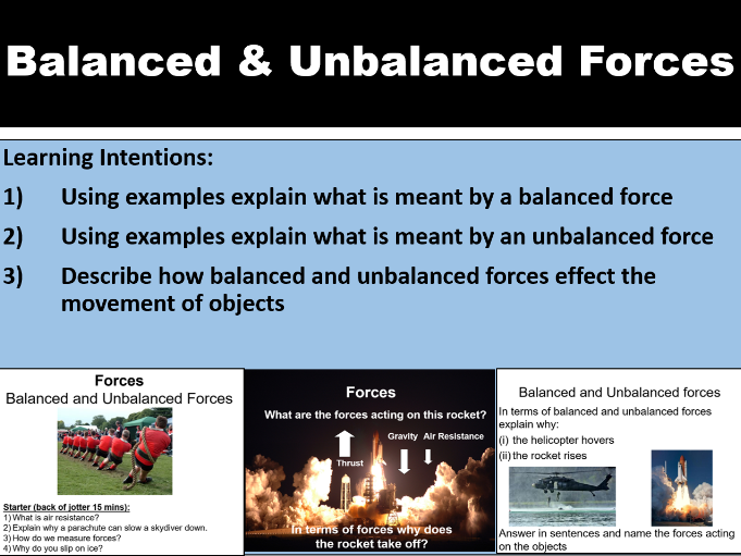 Forces - balanced and unbalanced forces