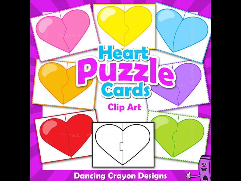 Clip Art Puzzle Cards - Heart Puzzles