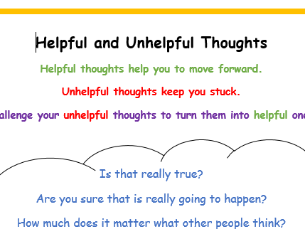 Mindfulness/calm down behaviour management prompts (helpful and unhelpful thoughts)