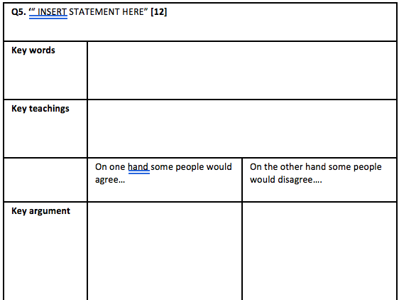 AQA RS New Spec 9-1 Question 5 planning sheet