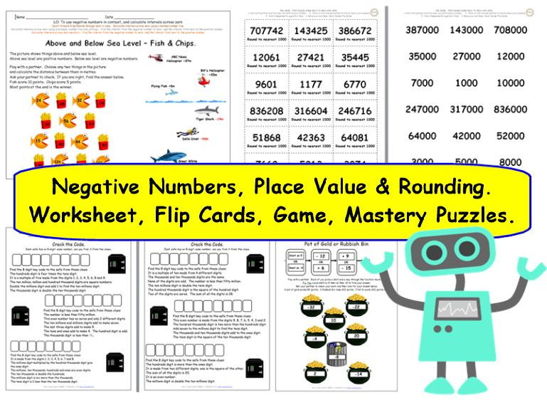 Y6 Place Value, Rounding and Negative Numbers, Differentiated Worksheets and Activities.