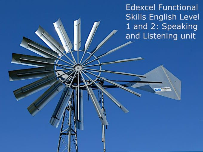 Edexcel Functional Skills English Level 1 and 2: Speaking and Listening unit