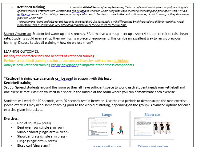 KS3 PE Fitness scheme of work