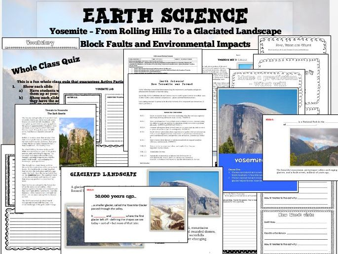 5th Grade NGSS Earth Science - Creation of Yosemite STEM and Differentiated