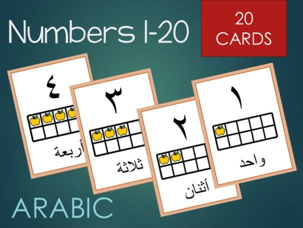 Arabic numbers 1-20 cards