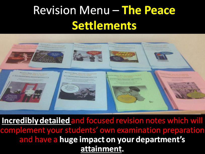Revision Menu – World War One Peace Settlements
