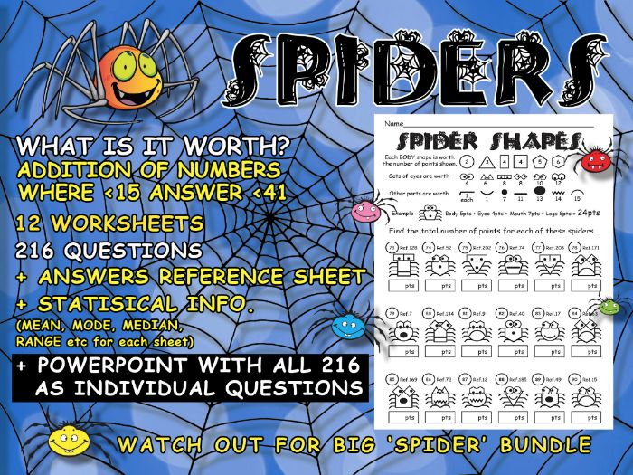 SPIDERS - MATHEMATICS - ADDITION ) (+Mean, Mode, Median and Range- if required)