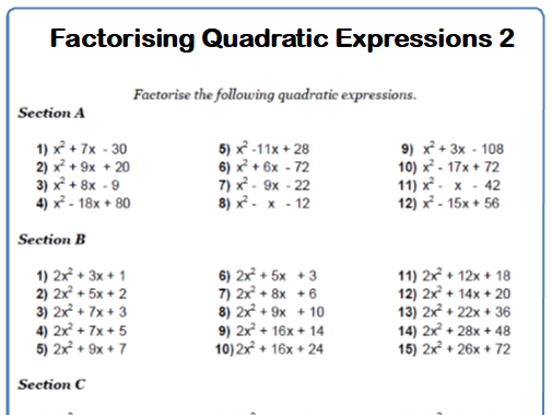 Factorising Quadratic Expressions 9-1 GCSE Maths Worksheet with Answers