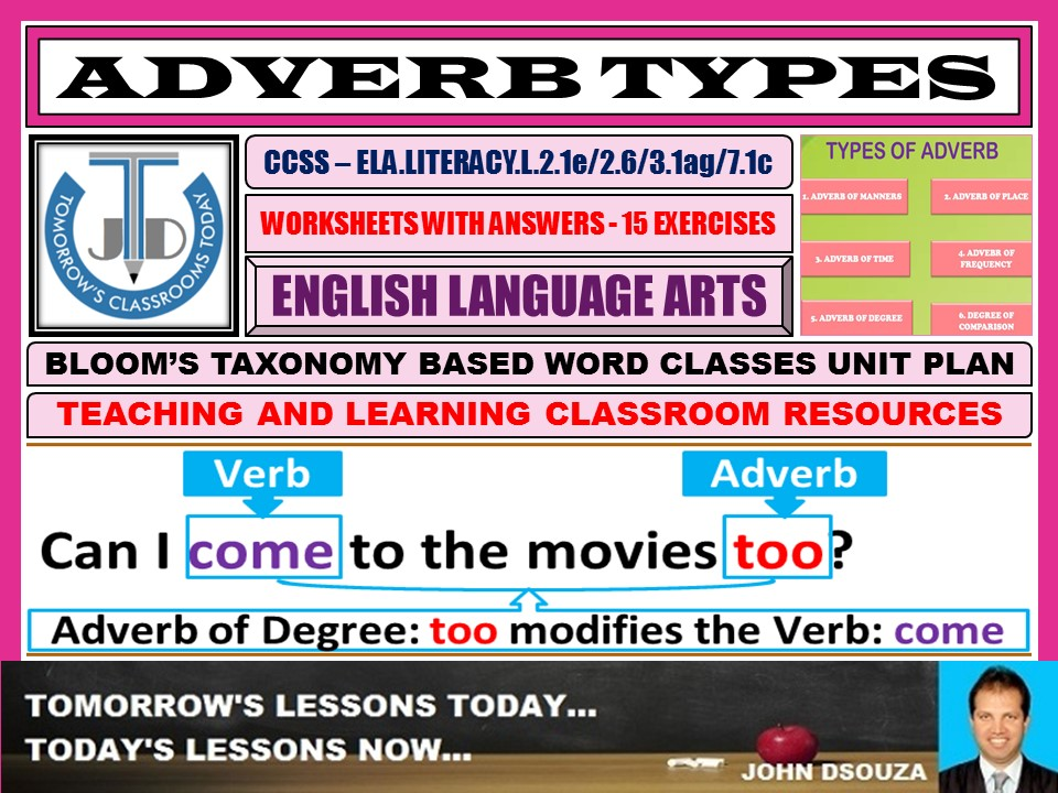 ADVERB TYPES: 15 WORKSHEETS WITH ANSWERS