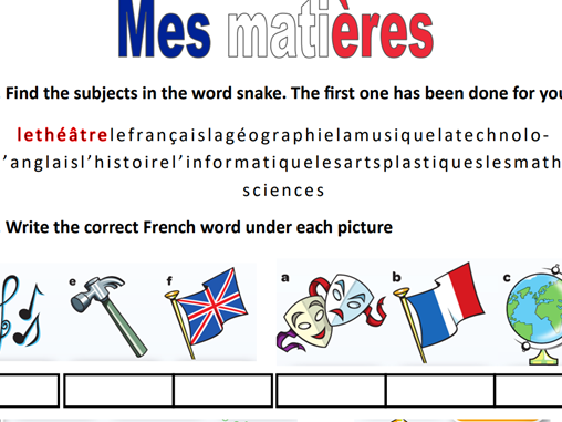 mes matières french year 7 worksheet /home learning