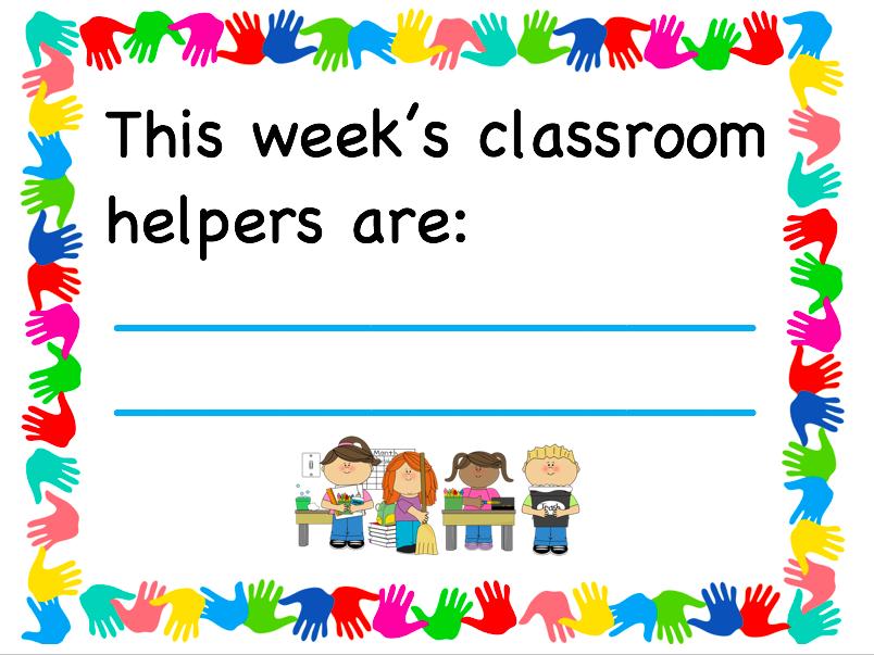 Classroom helper sign display