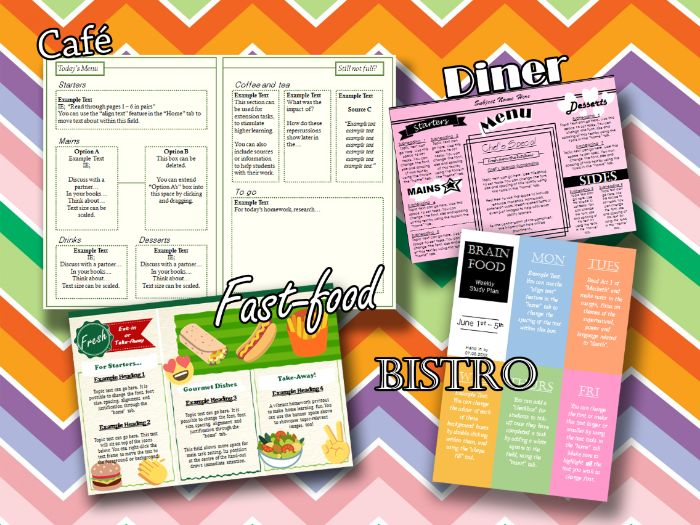 KS3&4 Lesson Planning Menus (Printable)