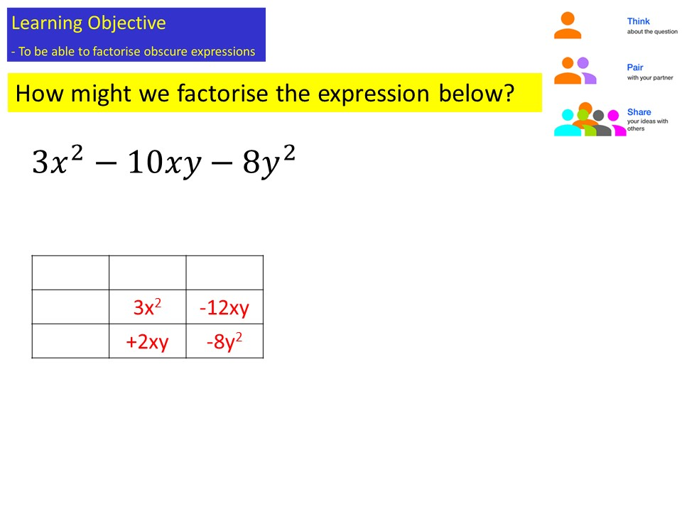 Factorising harder expressions FM