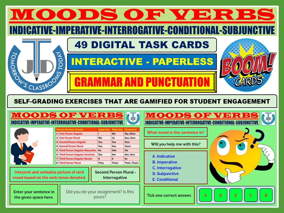 MOODS OF VERBS: 49 BOOM CARDS