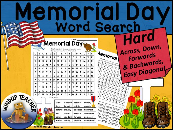 Memorial Day Word Search HARD Puzzle