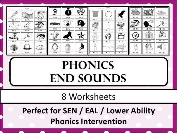 Phonics - End Sound Worksheets (SEN - EAL)