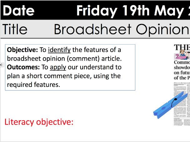 KS3 transactional broadsheet opinion writing with differentiated resources