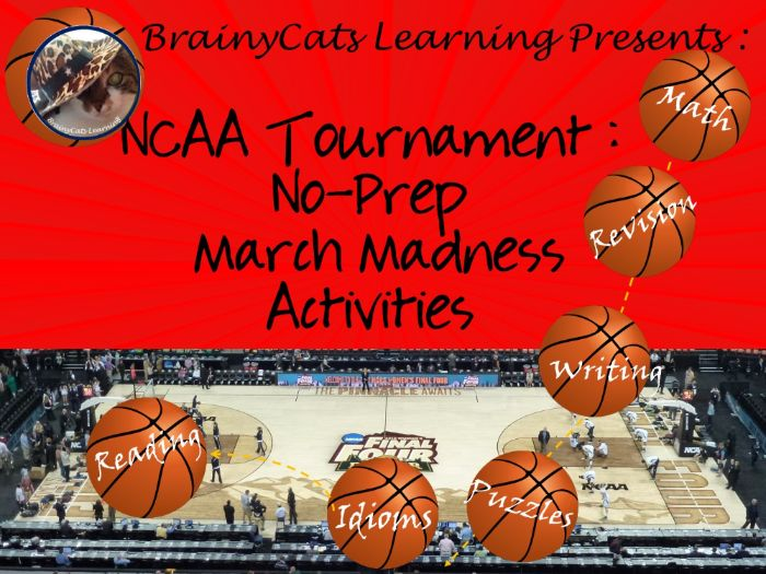 NCAA Tournament:  No-Prep March Madness Reading and Math Activities
