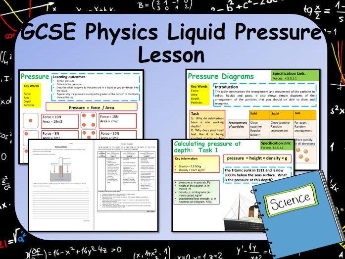 New AQA GCSE Physics Pressure in Liquids Lesson