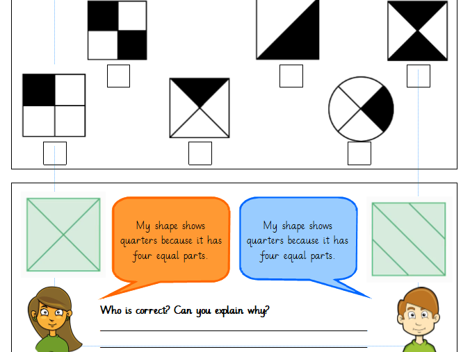 Finding a quarter of a shape. Year 1 Differentiated Worksheets (White Rose)