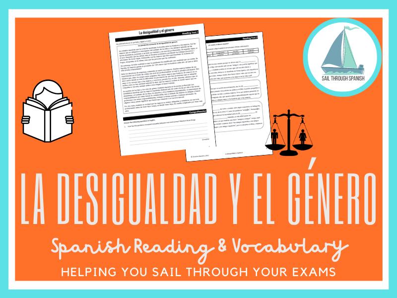 La desigualdad y el género: Spanish GCSE Reading, Vocab, Translation & Writing Practice