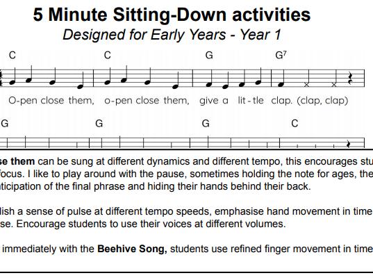 Music 5 minute sitting activities