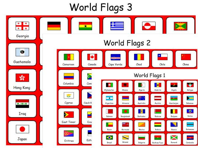 Flags of the World - 7 Symbol Sheets - 189 Countries - Geography - Humanities
