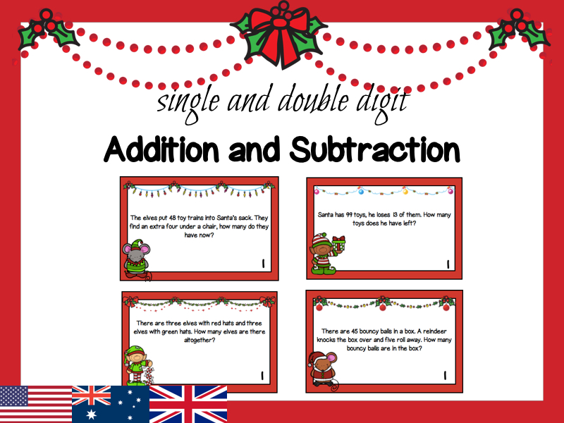 Christmas Themed Addition and Subtraction Task Cards