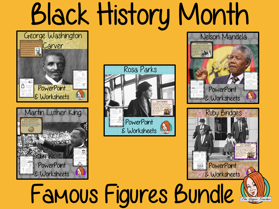 Black History Month Famous People PowerPoint and Worksheets Lessons