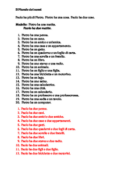 Plurale dei nomi (Plural of Nouns in Italian) Worksheet 2