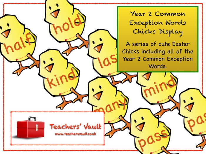 Year 2 Common Exception Words Chicks Display