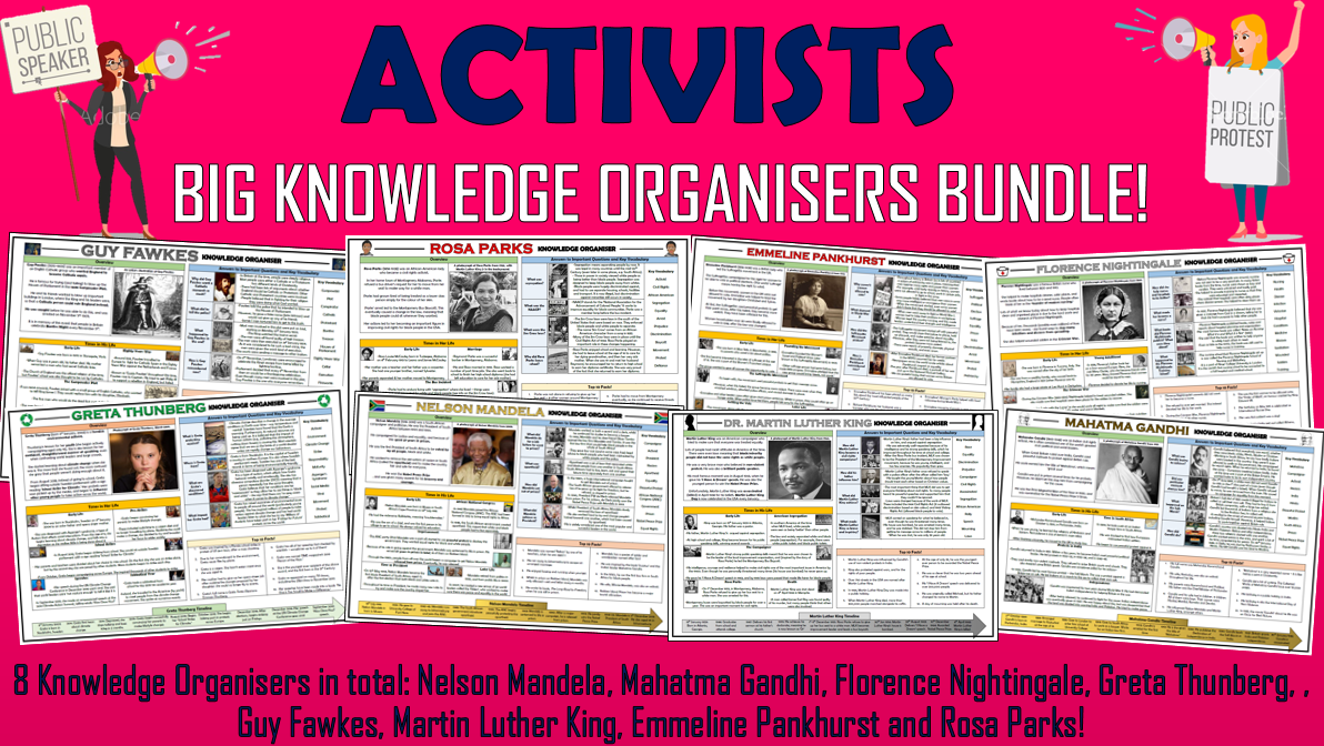 Activists - History Knowledge Organisers Bundle!