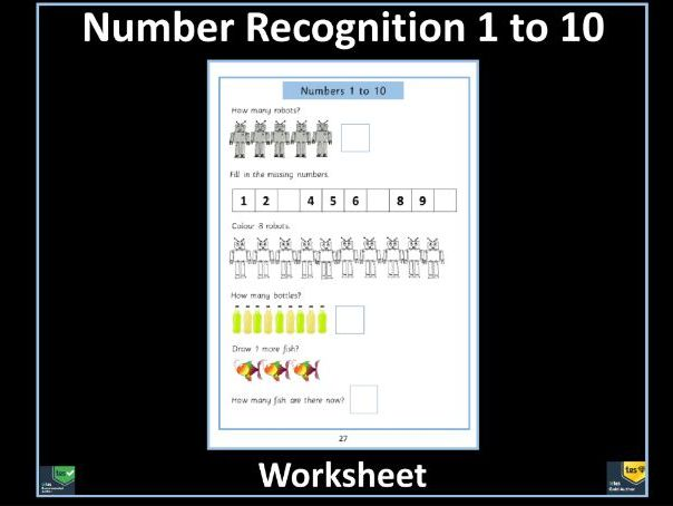 Number Recognition and Counting to 10 Free Worksheet