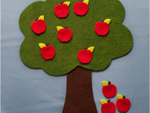 Ten Red Apples Adding and Subtracting Felt Board Set Digital Pattern