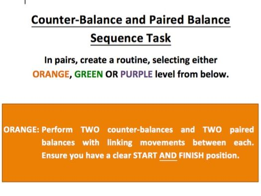 Counterbalance and Paired Balance Differentiation Worksheet (Gymnastics)