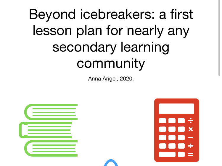 Beyond Icebreakers: First Lessons for Effective Learning Communities