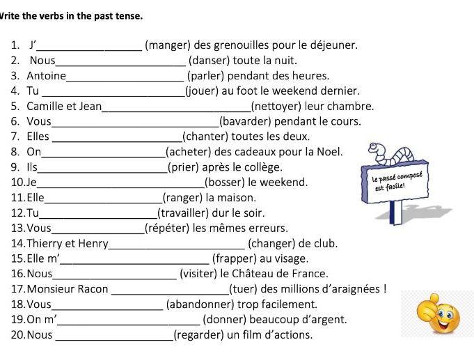 LE PASSÉ COMPOSÉ 20 QUESTIONS- QUICK TEST- ER VERBS ONLY WITH AVOIR