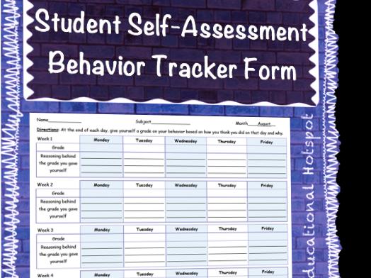 Student Self Assessment Behavior Tracker Year Long Template