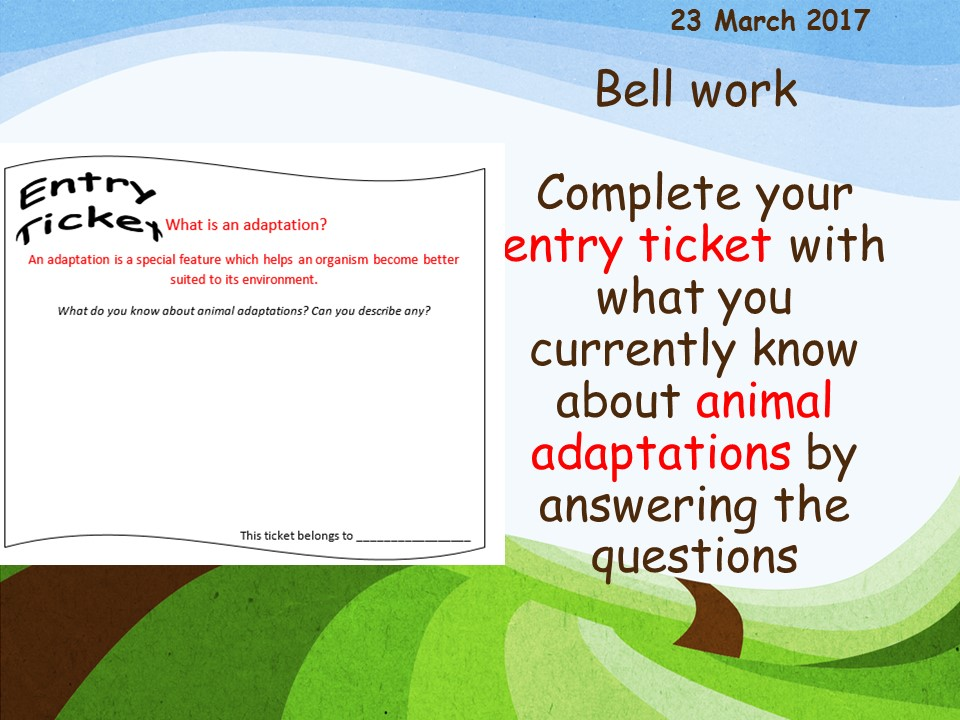Activate 2 Chapter 3 KS3 Adaptation and inheritance lesson 1: Animal adaptations and competition
