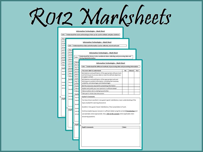 R012 End of Unit Marksheets