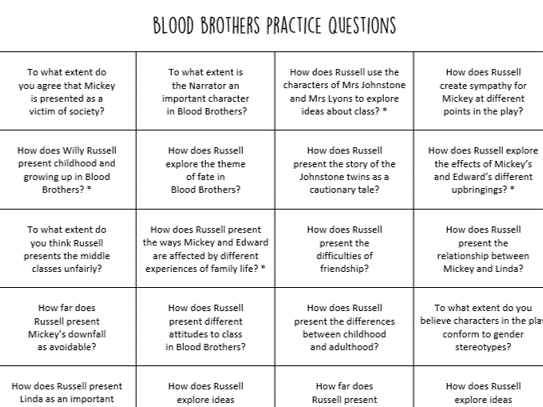 Blood Brothers Practice Questions