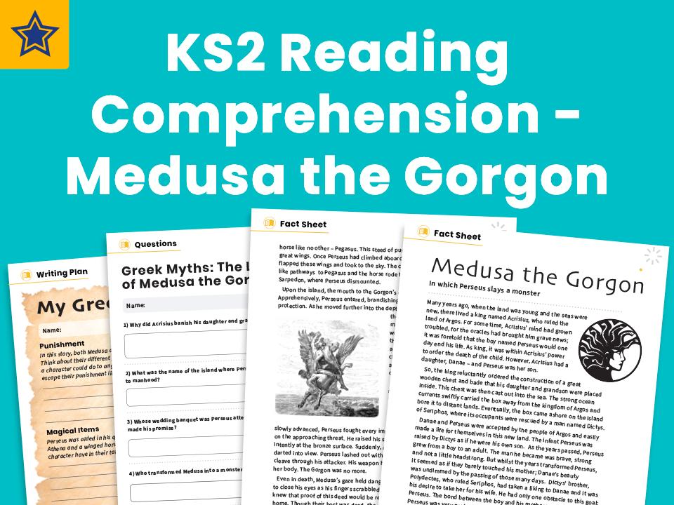 Medusa the Gorgon - KS2 Reading Comprehension Worksheets And Writing Prompt: Greek Myths