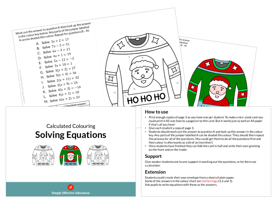 Christmas Maths Calculated Colouring Bundle