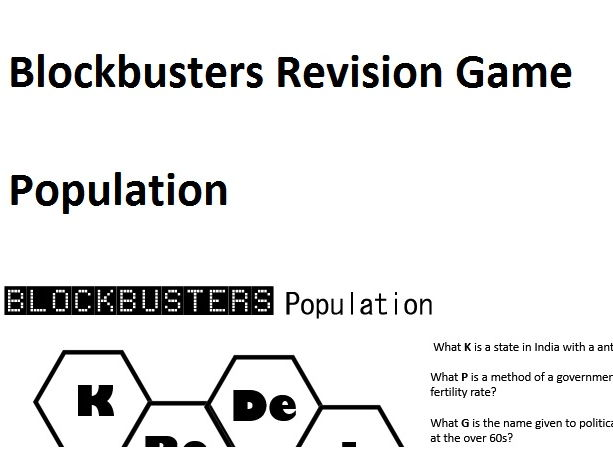 Blockbusters Population Revision Game